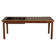 Swedish Modern Teak + Tile Coffee Table / Planter