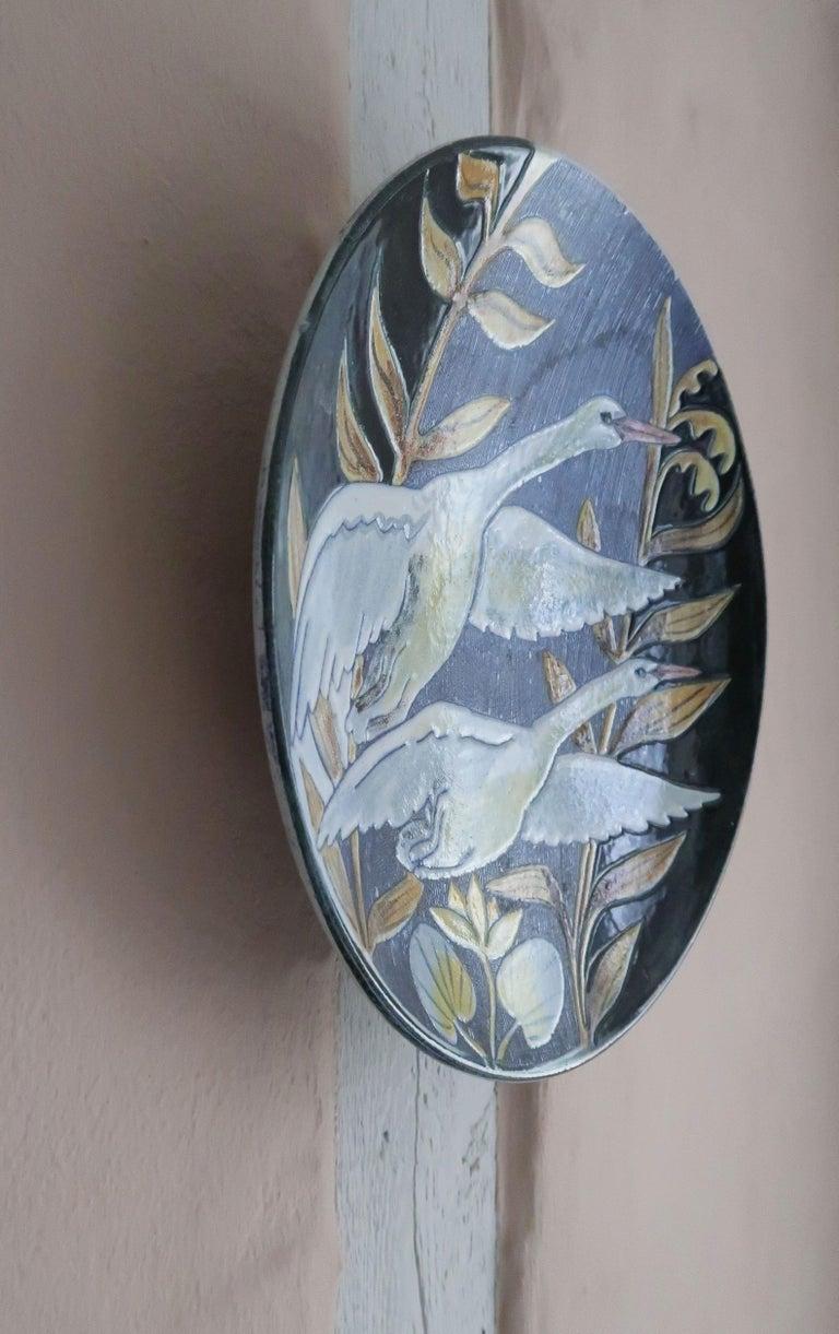 Swedish Modern Tilgmans Ceramic Wall Platter with Swans, 1957 For Sale 4