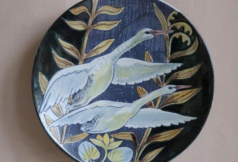 Scandinavian Modern Swedish Modern Tilgmans Ceramic Wall Platter with Swans, 1957 For Sale