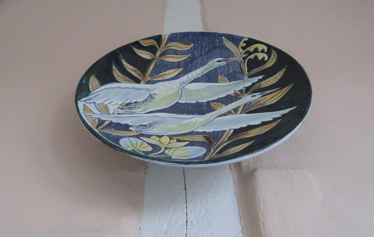 Swedish Modern Tilgmans Ceramic Wall Platter with Swans, 1957 In Good Condition For Sale In Frederiksberg, DK