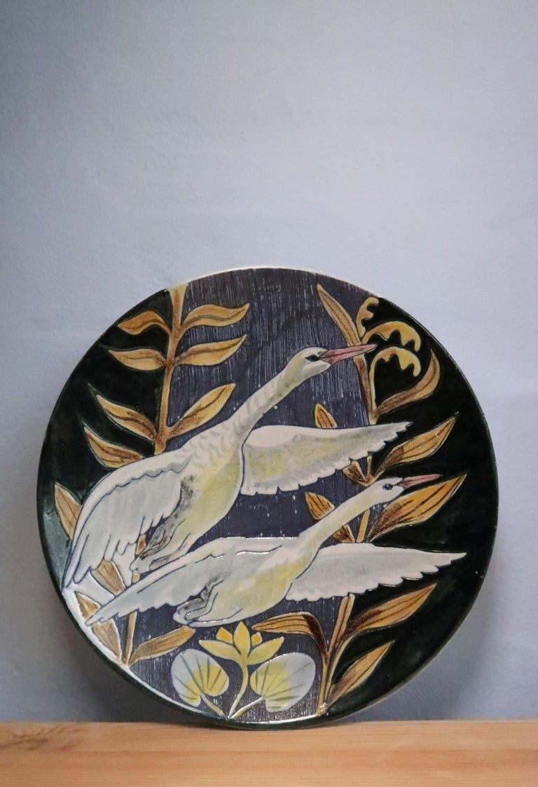 Mid-20th Century Swedish Modern Tilgmans Ceramic Wall Platter with Swans, 1957 For Sale