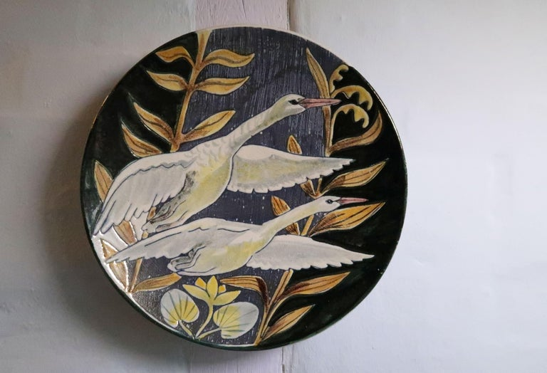Swedish Modern Tilgmans Ceramic Wall Platter with Swans, 1957 For Sale 1