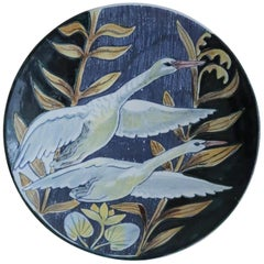 Swedish Modern Tilgmans Ceramic Wall Platter with Swans, 1957