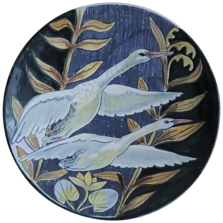 Swedish Modern Tilgmans Ceramic Wall Platter with Swans, 1957 For Sale