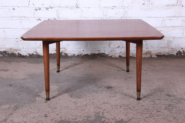 Brass Swedish Modern Walnut Coffee Table Attributed to Folke Ohlsson for DUX For Sale