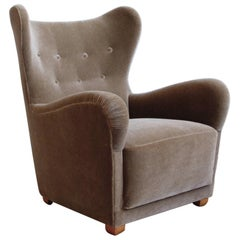 Swedish Moderne Mohair Wingback Chair Attributed to Otto Schulz for Boet