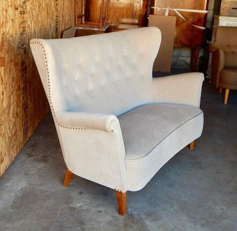 Swedish Moderne Winged Back Sofa, circa 1940 For Sale 5