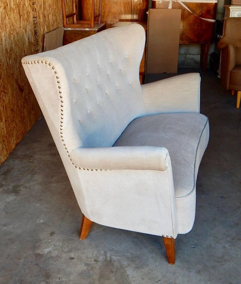 Swedish Moderne Winged Back Sofa, circa 1940 For Sale 2