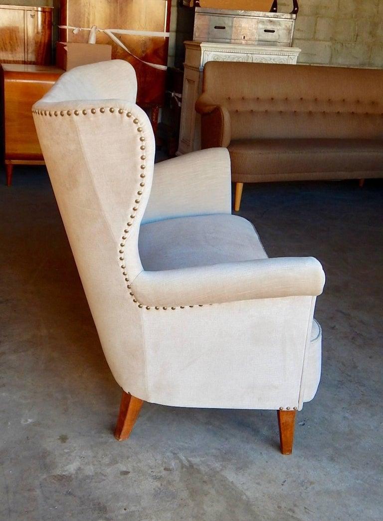 Swedish Moderne Winged Back Sofa, circa 1940 For Sale 3