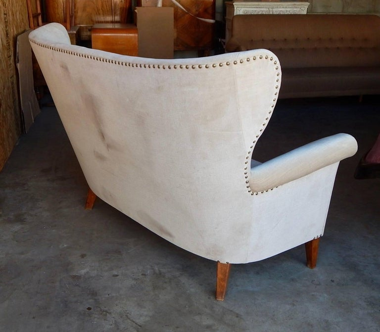 Swedish Moderne Winged Back Sofa, circa 1940 For Sale 4