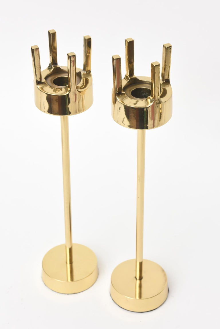 Mid-Century Modern Modernist Brass Candlesticks Style of Pierre Forsell for Skultana For Sale