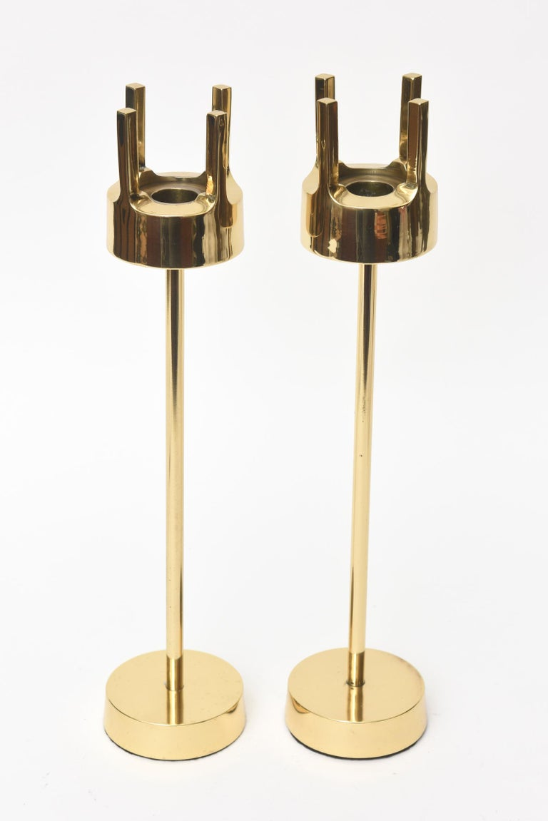 Swedish Modernist Brass Candlesticks Style of Pierre Forsell for Skultana For Sale