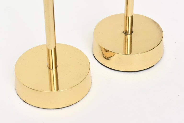 Modernist Brass Candlesticks Style of Pierre Forsell for Skultana For Sale 1