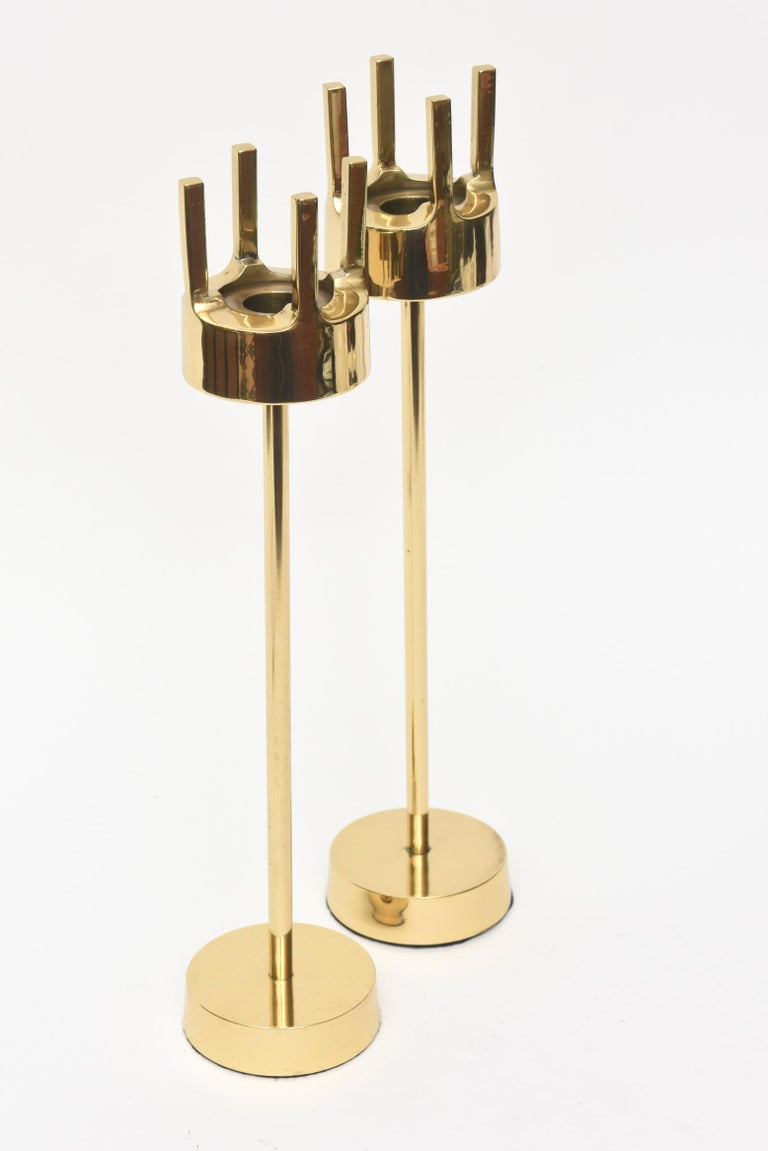 Modernist Brass Candlesticks Style of Pierre Forsell for Skultana For Sale 2