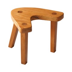 Swedish Modernist Designer, Assymetric Studio Stool, Pine, 1960s, Sweden