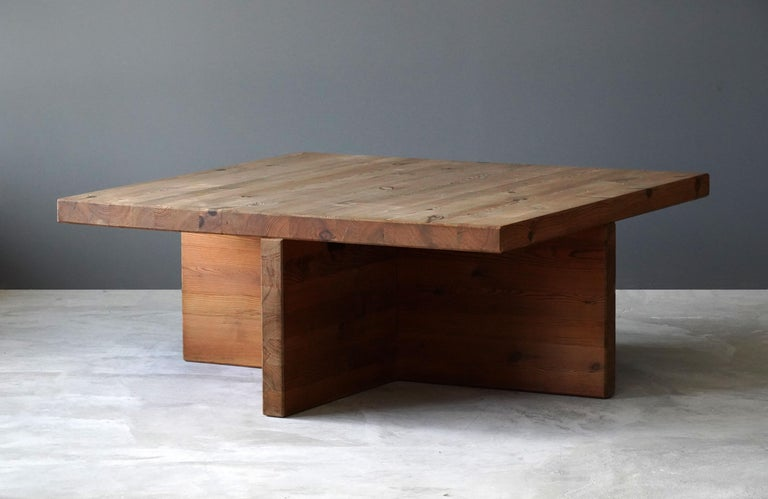 A large modernist coffee table, executed in massive pine. Designed and executed in Sweden, circa 1970s. The purity of the form enhances the natural beauty of the material.