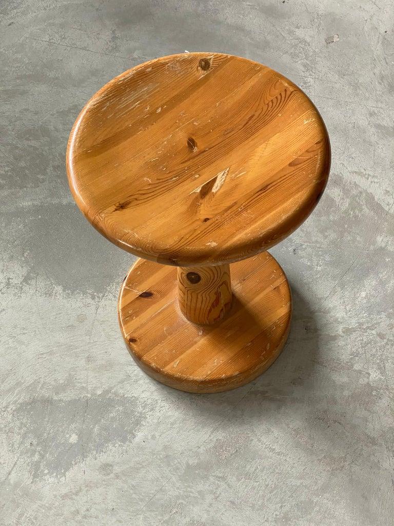 Scandinavian Modern Swedish Modernist Designer, Minimalist Stool, Pine, 1970s For Sale