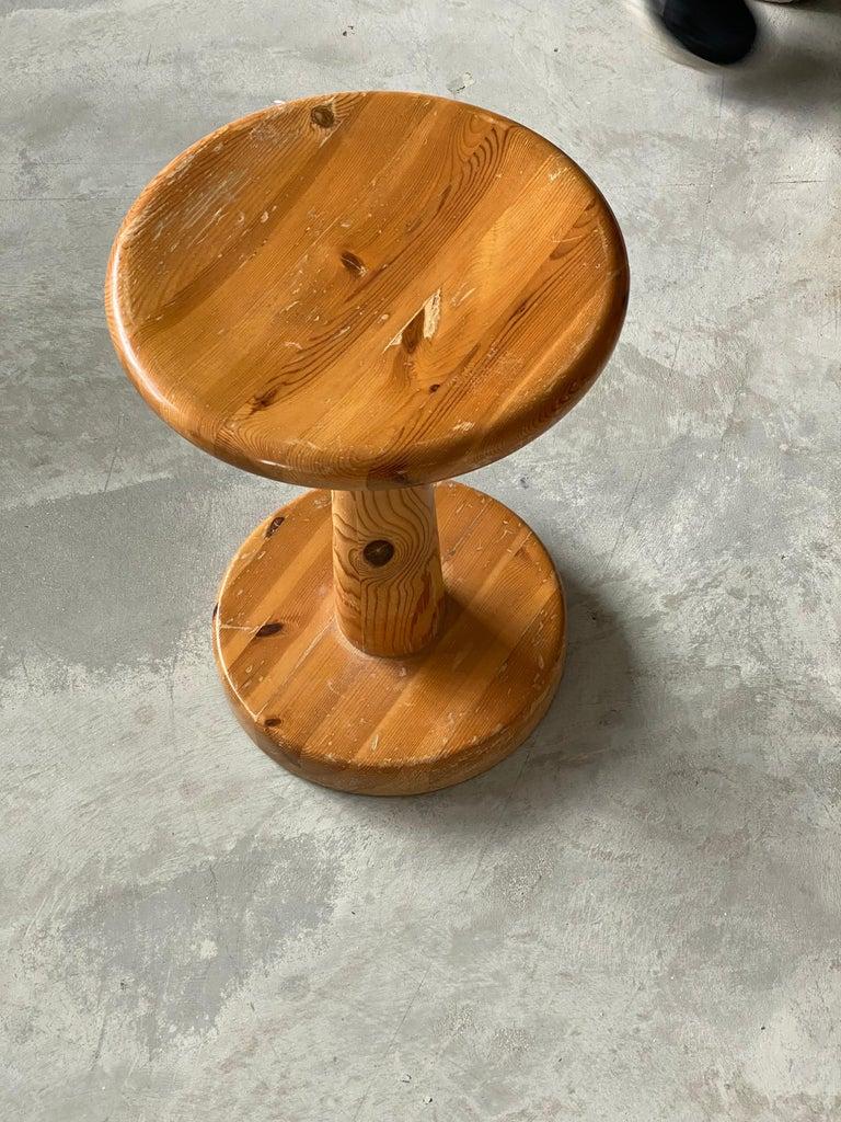 Late 20th Century Swedish Modernist Designer, Minimalist Stool, Pine, 1970s For Sale