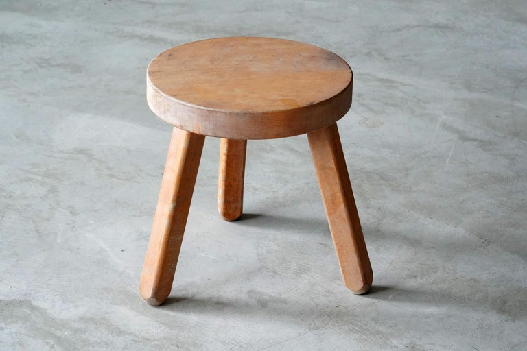 A Swedish Birch stool or side table. By unknown designer, 1970s. Purity of form enhances the beauty of wood.   Other designers working in similar style and materials include Axel Einar Hjorth, Roland Wilhelmsson, Pierre Chapo, and Charlotte