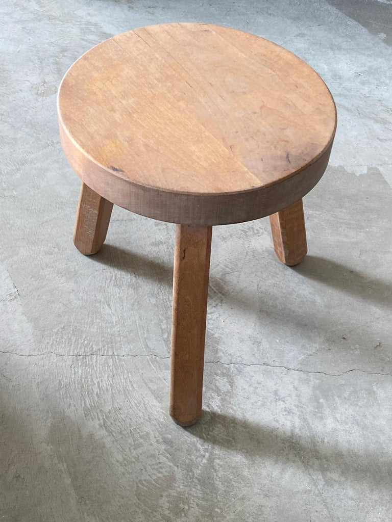Scandinavian Modern Swedish Modernist Designer, Minimalist Stools, Birch, 1970s For Sale