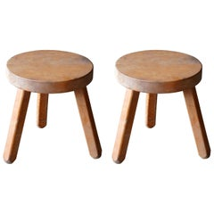 Swedish Modernist Designer, Minimalist Stools, Birch, 1970s