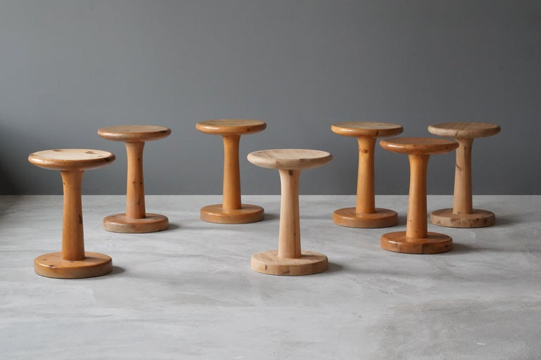 A Swedish pinewood stool or side table. By unknown designer, 1960s. Purity of form enhances the beauty of wood. 