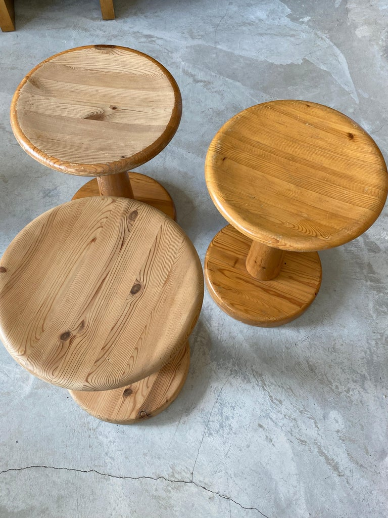 Swedish Modernist Designer, Minimalist Stools, Pine, 1960s In Fair Condition For Sale In West Palm Beach, FL