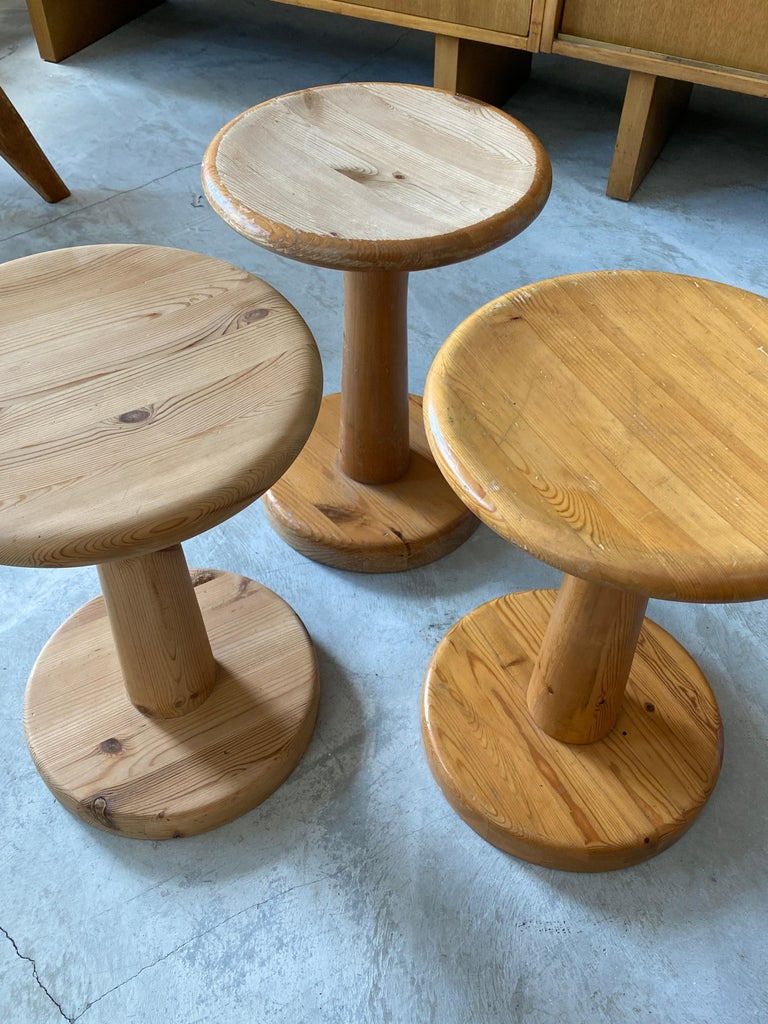 Swedish Modernist Designer, Minimalist Stools, Pine, 1960s For Sale 1