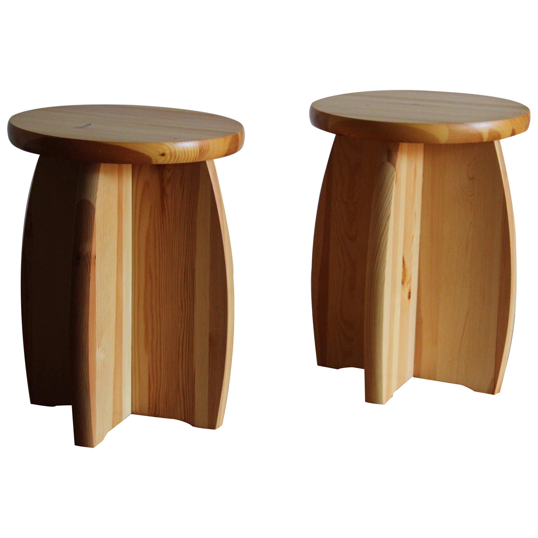 Swedish Modernist Designer, Minimalist Stools, Pine, 1970s