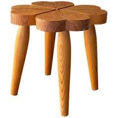 Swedish Modernist Designer, Organic Stool, Sculpted Stained Pine, Sweden, 1960s
