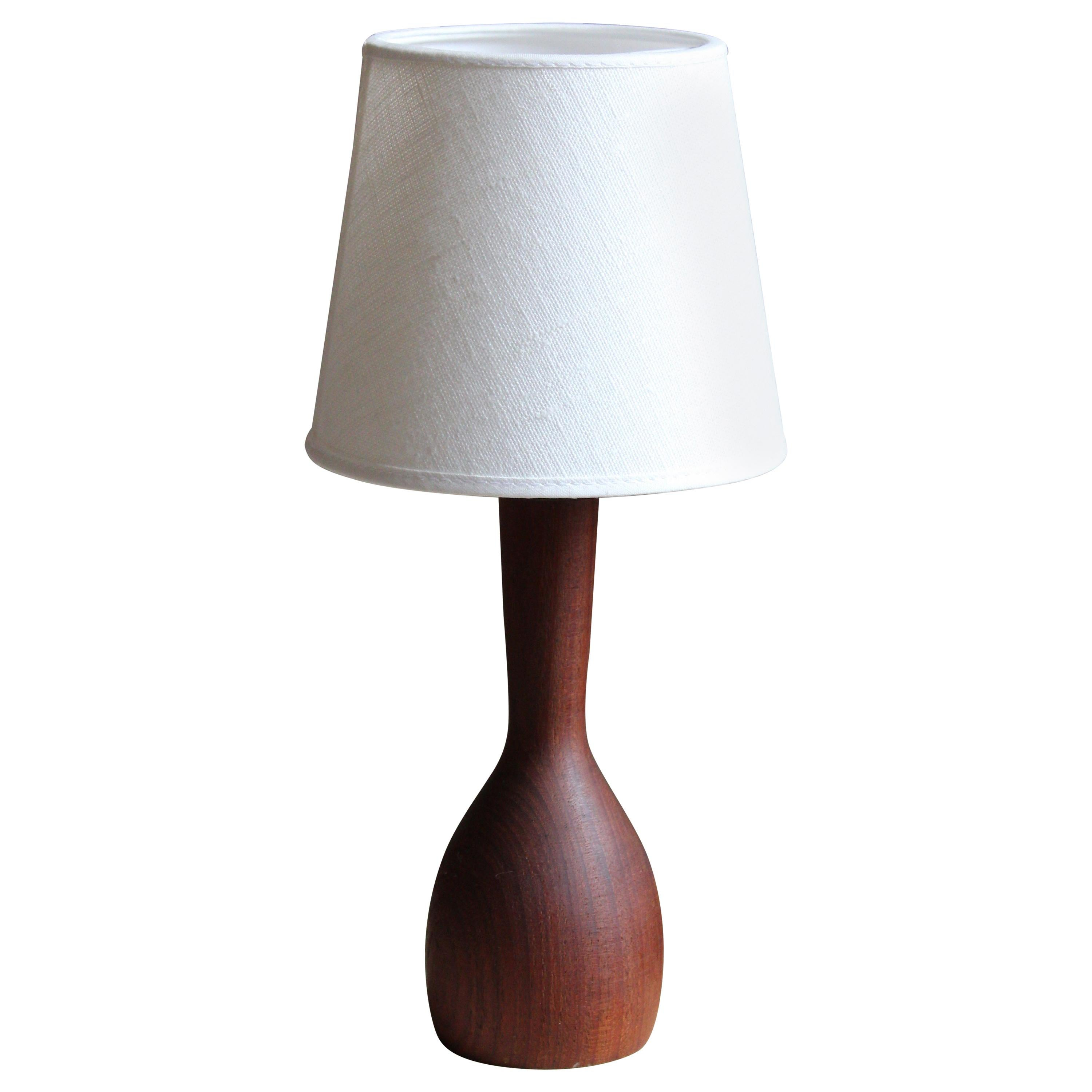 Swedish Modernist Designer, Organic Table Lamp, Teak, Linen, Sweden, 1950s