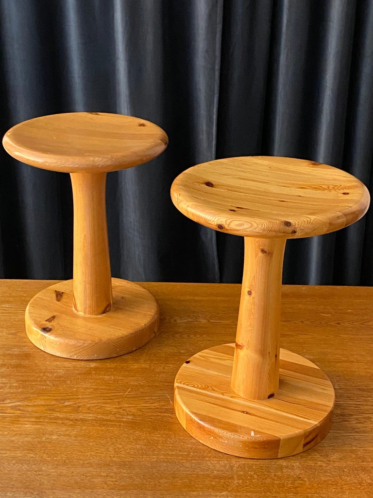 A Swedish pinewood stool or side table. By unknown designer, 1960s. Purity of form enhances the beauty of wood.   Other designers of the period include Pierre Chapo, Charlotte Perriand, Axel Einar Hjorth, and Kaare Klint.