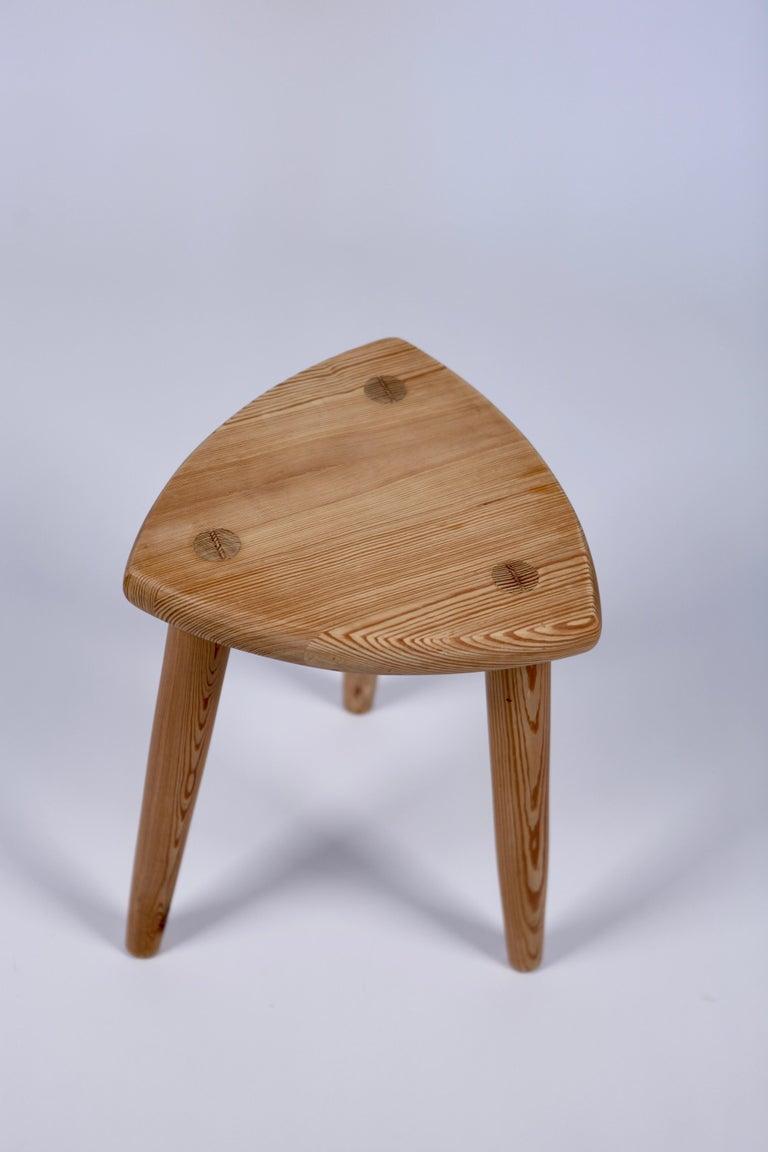 Swedish Modernist Designer, Pine Stool, 1950s For Sale 1