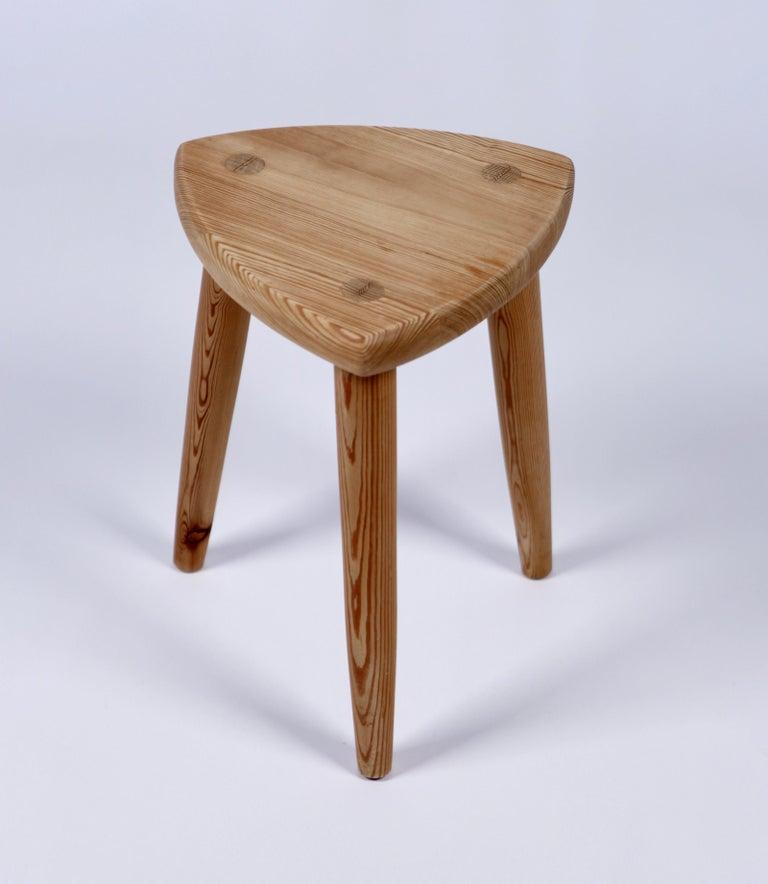 Swedish Modernist Designer, Pine Stool, 1950s For Sale 2
