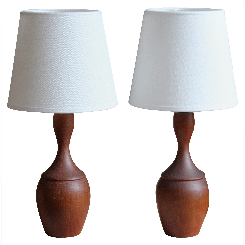 Swedish Modernist Designer, Small Organic Table Lamps Teak, Fabric, Sweden 1950s