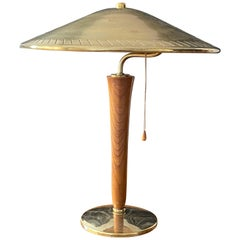 Swedish Modernist Designer, Table Lamp, Brass, Wood, Sweden, 1940s