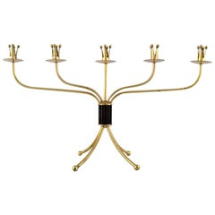 Swedish Modernist Five-Armed Brass Candlestick, Swedish Design