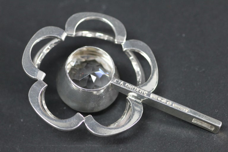 Swedish Modernist Pendant, Alton 1949, Sterling Silver and a Large Rock Crystal 3