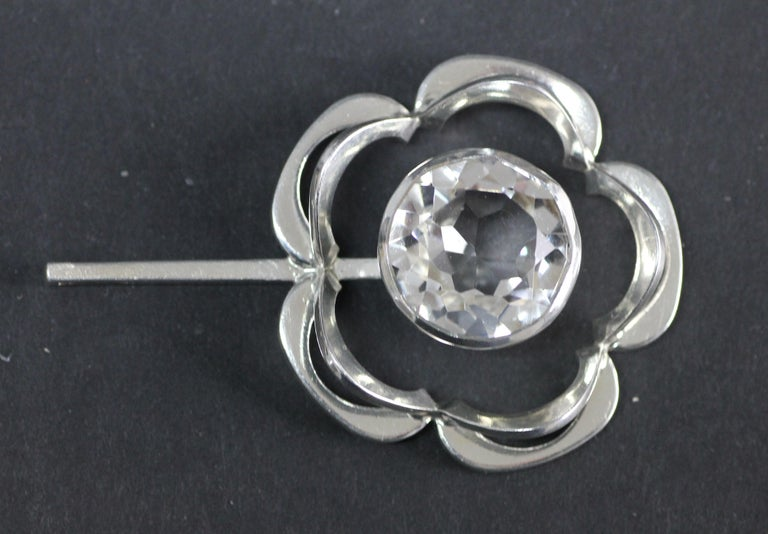 Swedish Modernist Pendant, Alton 1949, Sterling Silver and a Large Rock Crystal 5