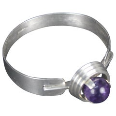 Swedish Modernist Silver and Amethyst Bracelet by Georg Kaplan, Stockholm, 1968