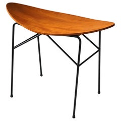Swedish, Modernist Stool, Teak Plywood and Lacquered Metal, Sweden, 1950s