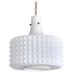 Swedish Modernist Studded Pendant Lamp in Opaline Glass, Orrefors, 1950s