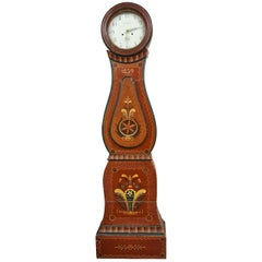 Swedish Mora Clock Antique Brown Folk Art Carved Hood Detail, Early 1800