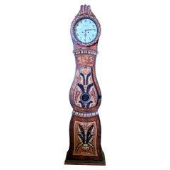 Swedish Mora Clock Brown Folk Art Early 1825 Scallop Top