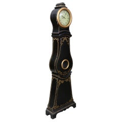 Swedish Mora Clock Early 1800s Black Gold Detail Antique
