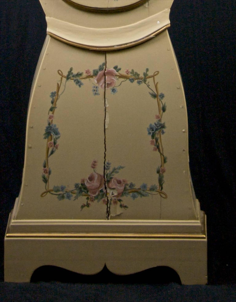 Gilt Swedish Mora Clock Flowers and Wreath Painted Detail Antique, Early 1800s For Sale
