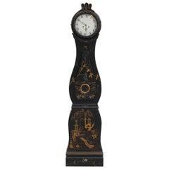 Swedish Mora Clock Fryksdal 1800s Black Gold Chinoiserie Antique