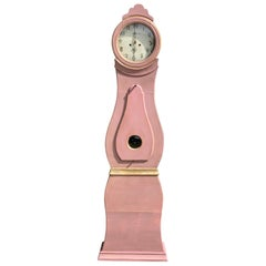 Swedish Mora Clock Salmon Pink Gold Early 1800s Antique Country Style