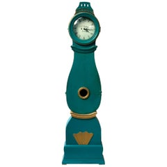 Swedish Mora Clock Turquoise Early 1800s Rydberg Antique