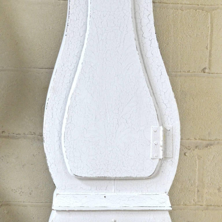 Gustavian Swedish Mora Clock White Paint Early 1800s Carved Detail Hand Painted For Sale